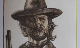Clint Eastwood – Pen Stroke on paper. Laminated and Framed. 18″X24″