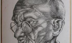 Mahatma Gandhi – Pen Stroke on paper – Laminated and Framed18″X24″
