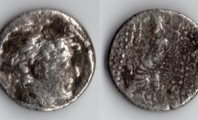SELEUKID KINGDOM ANTIOCHOS XII SILVER TETRADRACHM 86-85 BC.