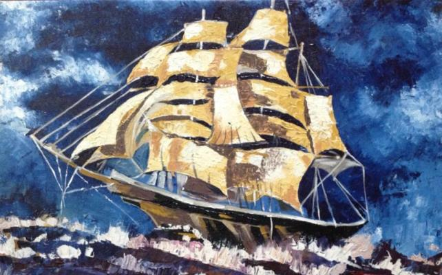 The Ship in the Rough Sea – Knife work on canvas. Acrylic paint. 22″X27″