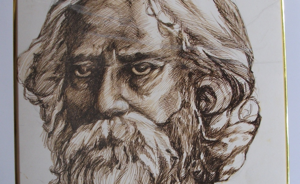 Rabindranath Tagore – Pen Stroke on paper. Laminated and Framed.18″X24″